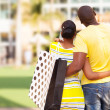 Young african couple buying modern apartment — Stock Photo