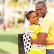 African american couple outside shopping mall — Stock Photo