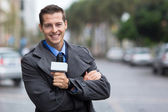 Professional news reporter portrait in the city — Stock Photo