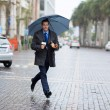 Stock Photo: News correspondent rushing for breaking news
