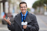 Weather reporter in live broadcast — Stock Photo