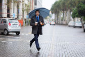 News correspondent rushing for breaking news — Stock Photo