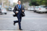 Journalist rushing for breaking news — Stock Photo