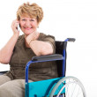 Disabled senior woman talking on cell phone — Stock Photo #35222521