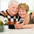Elderly couple using smart phone — Stock Photo