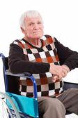 Disabled senior man on wheel chair — Zdjęcie stockowe