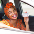 Africamericwomshowing driving license — Stock Photo #36379967