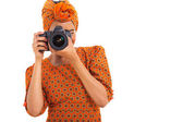 African woman using a camera — Foto de Stock
