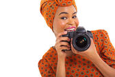 African female photographer — Stock Photo