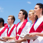Church choir singing outdoors — Stock Photo