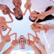 Stock Photo: Group of people hands forming a star shape