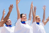 Christian chruch choir praising outdoors — Stock Photo