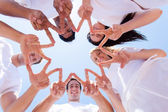 Group of people hands forming a star shape — Stock Photo