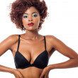 Young africamericmodel wearing black bra — Stock Photo #38759111