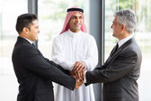 Business team hands together — Stock Photo