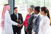 Introducing arabian businessman — Stock Photo