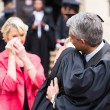Father hugging daughter at graduation — Stock Photo #42475925