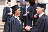 Pretty african student receiving certificate — Stock Photo