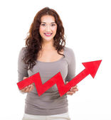 Happy woman with red growth arrow — Stock Photo