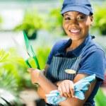 African american gardener holding garden tool — Stock Photo #44710255