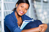 African american woman with books — Stock Photo