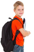 Little schoolboy with schoolbag — Stock Photo