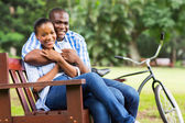 Loving afro american couple outdoors — Stock Photo
