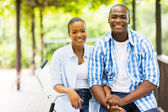 Smiling african couple outdoors — Stock Photo