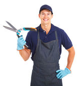 Gardener holding garden shears — Stock Photo