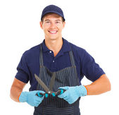 Gardener with garden shears — Stock Photo