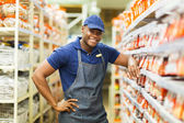 Worker standing by the fasteners aisle — Stock Photo