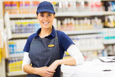 Female hardware store worker — Stock Photo