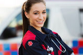 Young female emergency medical technician — Stock Photo