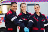 Group of paramedics hands together — Stock Photo