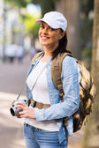 Female tourist in town — Stock Photo