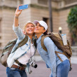 Female tourists taking self portrait — Stock Photo #49241207