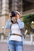Female traveller taking photos — Stock Photo