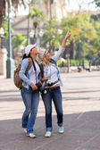 Young female travellers sightseeing — Stock Photo