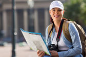 Young woman touring in city — Stock Photo