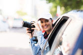 Woman on road trip — Stock Photo