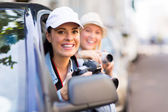 Female tourists on road trip — Stock Photo