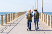Travelers walking on pier — Stock Photo