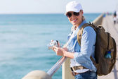 Female tourist enjoying holiday vacation — Stock Photo