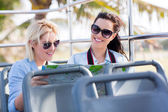 Tourists travelling on bus — Stock Photo