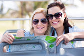 Friends traveling on tour bus — Stock Photo