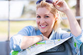 Tourist on open top bus — Stock Photo