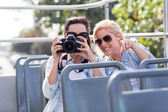 Tourists taking fun photo — Stock Photo