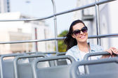 Woman on open top bus — Foto de Stock