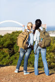 Two female travelers touring Durban — Stock Photo