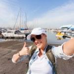 Happy tourist taking self portrait — Stock Photo #49255919